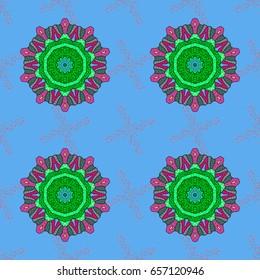 Colored mandala on background. Vector illustration. Rich ethnic striped seamless pattern geometric design. Mandala style.