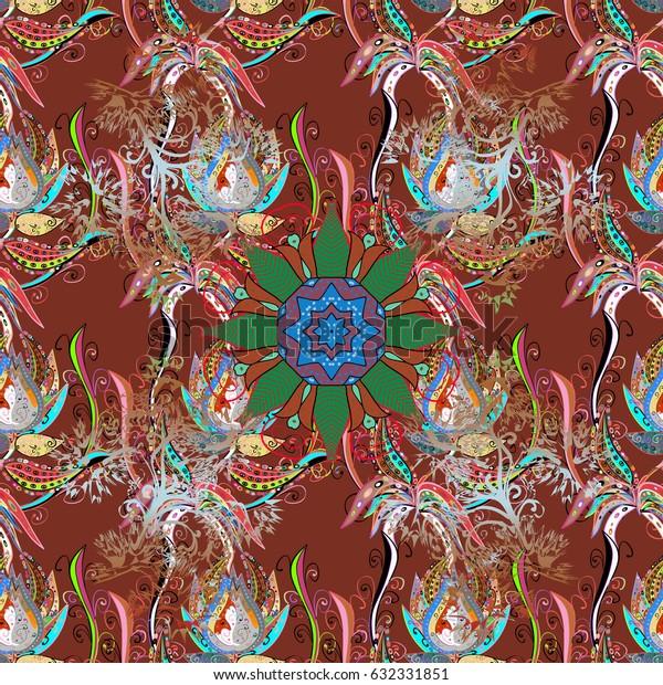 Colored Mandalas on green background. Vintage vector decorative elements. Oriental pattern. Islam, Arabic, Indian, turkish, pakistan, chinese, ottoman motifs.