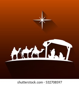 Colored manger for christmas celebrations, Vector illustration
