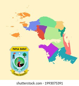 Colored Map and Logo of PAPUA BARAT (WEST PAPUA)