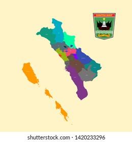 Colored Map and Logo of Sumatera Barat (West Sumatera)
