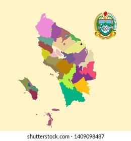 Colored Map and Logo of Sumatera Utara  (North Sumatera)
