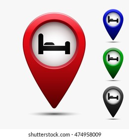 Colored map pointer with symbol hotel or rest room . For location maps. Mark icon. Sign for gps navigation. Index location on map. Pointer location. Vector isolated ilustration.