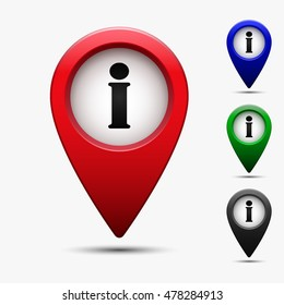 Colored map pointer with symbol info, information and reference. For location maps. Mark icon. Sign for navigation. Index location on map. Pointer location. Vector isolated ilustration.