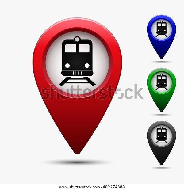 Subway Map Sign.Colored Map Pointer Symbol Train Subway Stock Vector Royalty Free
