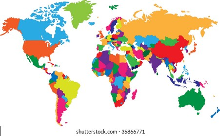 World map outline images stock photos vectors shutterstock colored map of world with countries borders gumiabroncs Choice Image