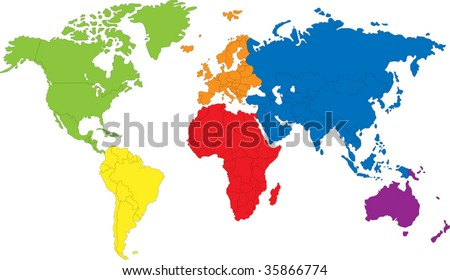 Map Of Earth Countries.Colored Map World Countries Borders Stock Vector Royalty Free