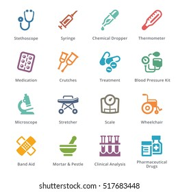 Colored Medical Equipment & Supplies Icons Set 1 - Sympa Series