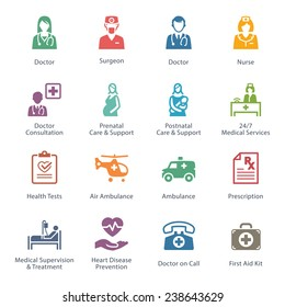 Colored Medical & Health Care Icons Set 1 - Services