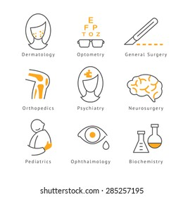 Colored Medical  Health Care Icons set