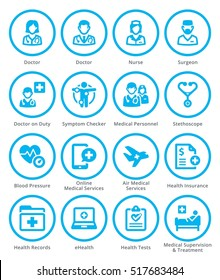 Colored Medical Services Icons Set 2 - Blue Circles