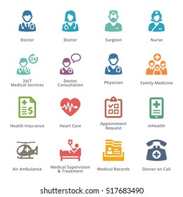 Colored Medical Services Icons Set 1 - Sympa Series