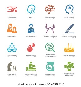 Colored Medical Specialties Icons Set 2 - Sympa Series