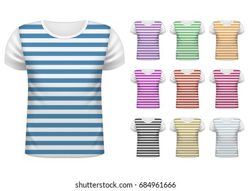 Colored Mens short t-shirt design template set