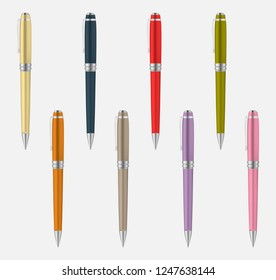 Colored metal pen isolated on gray background, vector mockup set.