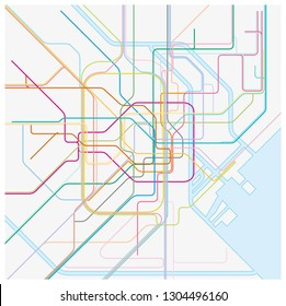 colored metro vector map of the japanese capital tokio