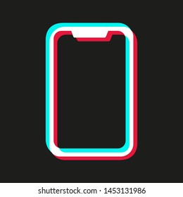 Colored mobile phone frame made in the colors of the social network Tik Tok. Concept of ready-made form for social networking and blogging. Color smartphone. Popular social network. Vector mock up