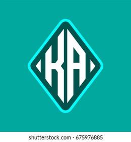 Colored monogram logo curved oval shape initial letter ka logo vector
