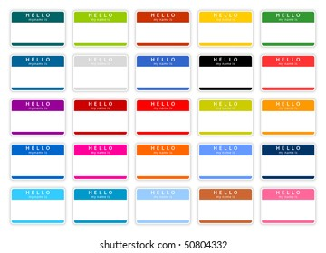Colored name tag sticker set with shadow on white