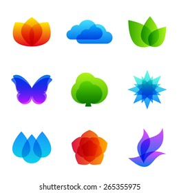 Colored nature vector icon set - fire, cloud, leaves, butterfly, tree, snowflake, drops, flower and bird