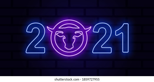 Colored neon illustration bull head, circle, numbers on a brick wall background. Vector illustration for poster, flyer, postcard, sticker. Chinese New Year 2021.