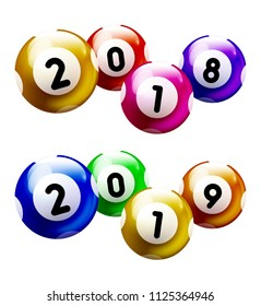 Colored Number Balls with year 2018 and 2019