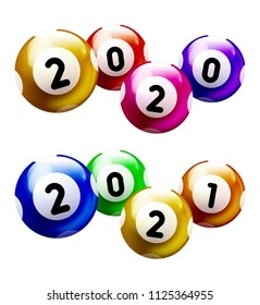Colored Number Balls with year 2020 and 2021