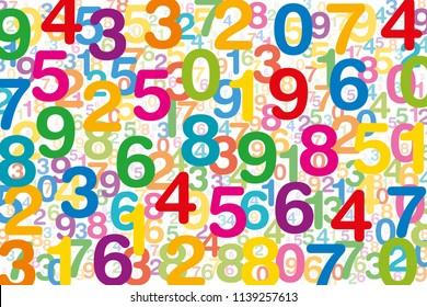 Colored numbers on white background. Randomly distributed overlapping numerals. Symbol for numerology or a flood of data. One to zero disorganized and of different sizes. Isolated illustration. Vector