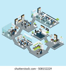 Colored office isometric different floors composition with seven business rooms conference hall vector illustration