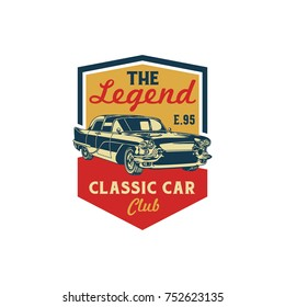 Colored Old Retro Style Vintage Classic Car Vector Logo, Badge, Emblem, Icon, Sticker. Car Show, Exhibition, Festival Element.