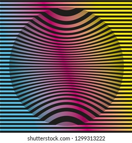 Colored op-art background pattern. Geometric vector illustration