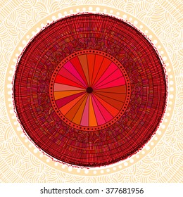colored oriental umbrella on patterned background