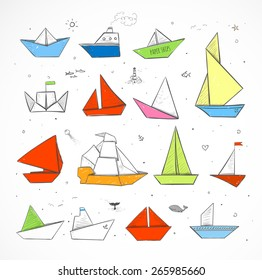 Colored Origami paper ships sketches. Paper sailing ships, steamboats, yachts, boats.