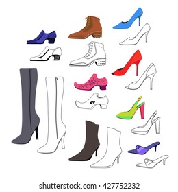 Set Different Types Womens Shoes Silhouette Stock Vector (Royalty ... 495aa8faf