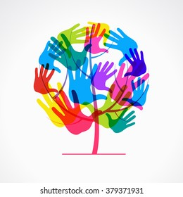 Colored overlapping prints of a human hand in the form of a tree. The file is saved to version 10 EPS.