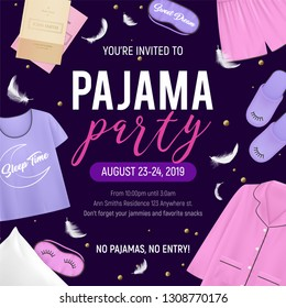 Colored pajama party poster with you re invited to pajama party no pajama no party descriptions vector illustration