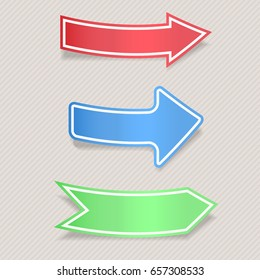 Colored paper arrows. Labels on gray background. Vector 3d illustration