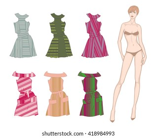 Colored paper doll young beautiful girl and striped clothes for her
