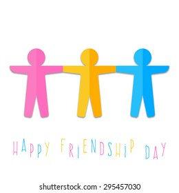 colored paper men day friendship. vector illustration on white b