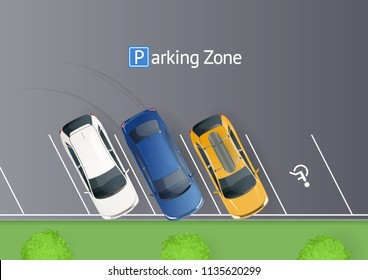 Colored parked cars on the parking. Parking zone top view. One free place for invalid. Vector illustration.