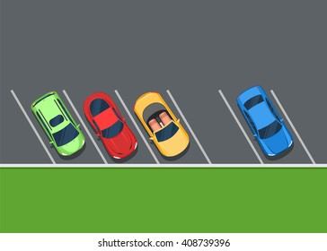 Colored Parked cars on the parking, top view. One free place. Color Flat style vector illustration background for web design or print