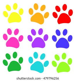 Colored paw prints vector illustration background