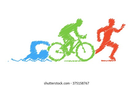 Colored pencil drawing of the logo triathlon. Figures triathletes on a white background. Swimming, cycling and running symbol.