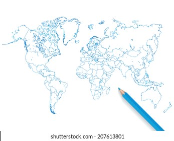 Colored pencil world map vector illustration