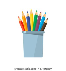 Colored pencils in a glass for office. Flat vector illustration isolated on white background
