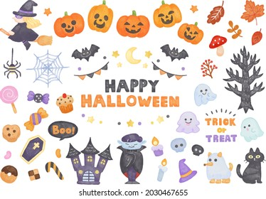 Colored pencils, hand-painted style, colorful and cute Halloween illustration set, for invitations and website materials
