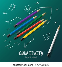"""Colored pencils inside a rocket figure. Rocket and stars are dotted like children with white lines. The background is green. White inscription """"Creativity. Back to school."""""""