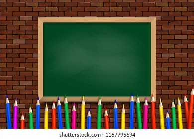 Colored pencils on green school Board background. Vector illustration. Against a brick wall