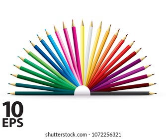 Colored pencils set isolated on a white. Vector 3d illustration