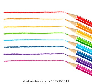 Colored pencils and strokes. Hand drawn vector doodle illustration. Colorful crayons isolated over white background.